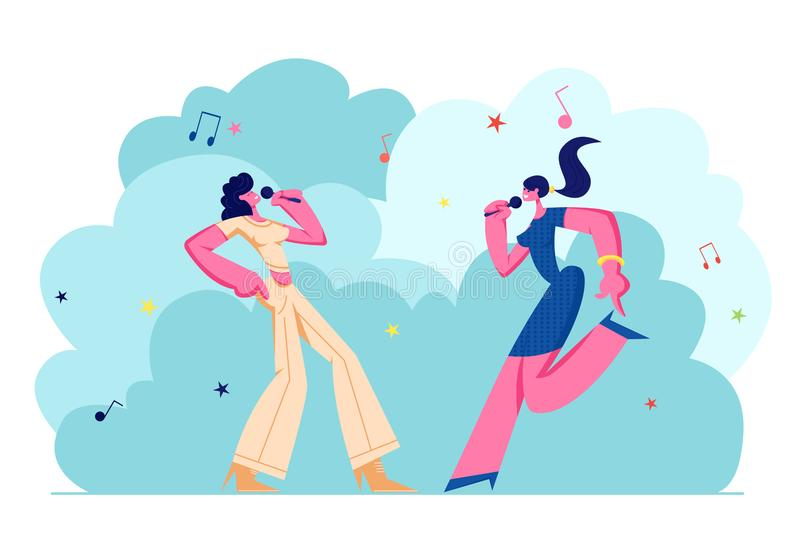 Ευτυχείς θηλυκοί χαρακτήρες που τραγουδούν χαρωπά τα τραγούδια στο φραγμό καραόκε, επιχείρηση νέων κοριτσιών με τα μικρόφωνα που  ελεύθερη απεικόνιση δικαιώματος
