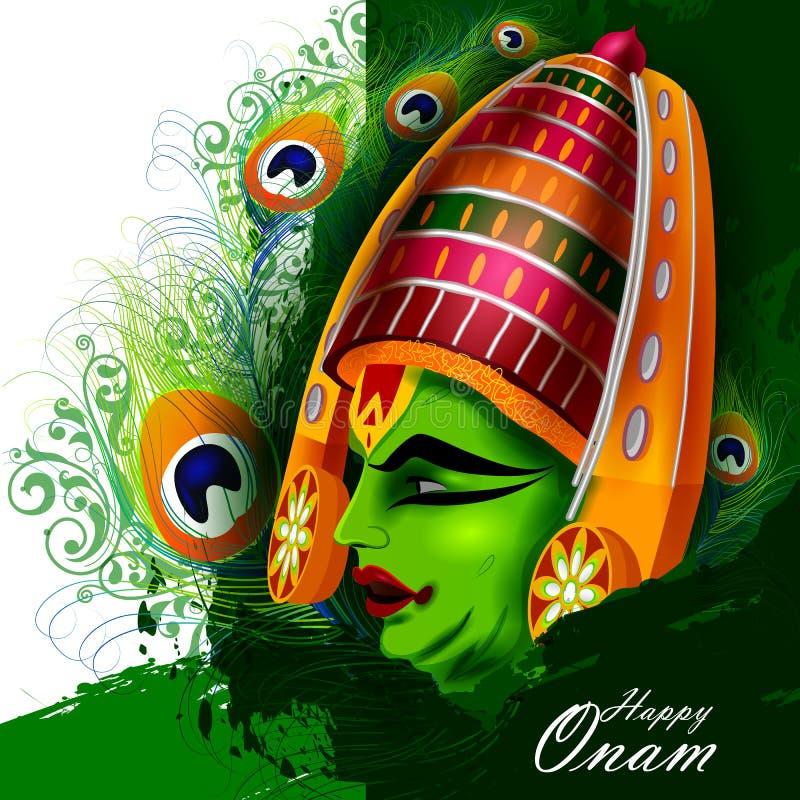 Ευτυχείς διακοπές Onam για το υπόβαθρο φεστιβάλ της νότιας Ινδίας διανυσματική απεικόνιση