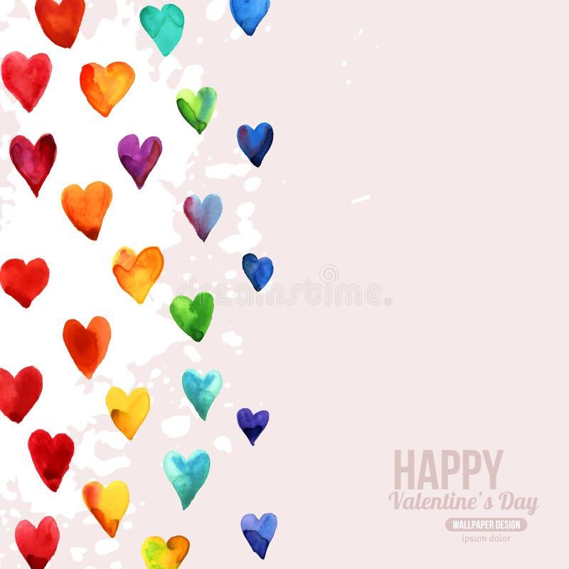 Ευτυχείς καρδιές ημέρας βαλεντίνων Watercolor ουράνιων τόξων ελεύθερη απεικόνιση δικαιώματος