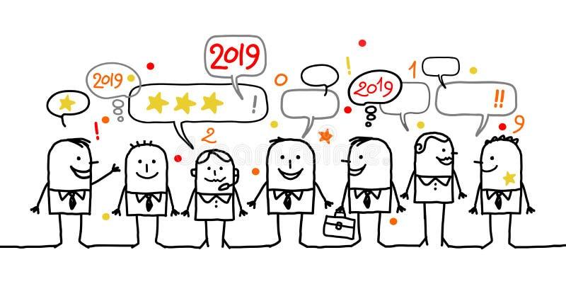 Ευτυχείς κοινωνικοί επιχειρηματίες και νέο έτος 2019 κινούμενων σχεδίων απεικόνιση αποθεμάτων