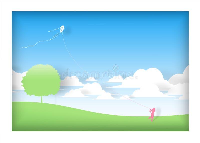 Ευτυχείς κορίτσι και ικτίνος, ύφος τέχνης εγγράφου με την απεικόνιση υποβάθρου ουρανού κρητιδογραφιών στοκ φωτογραφίες με δικαίωμα ελεύθερης χρήσης