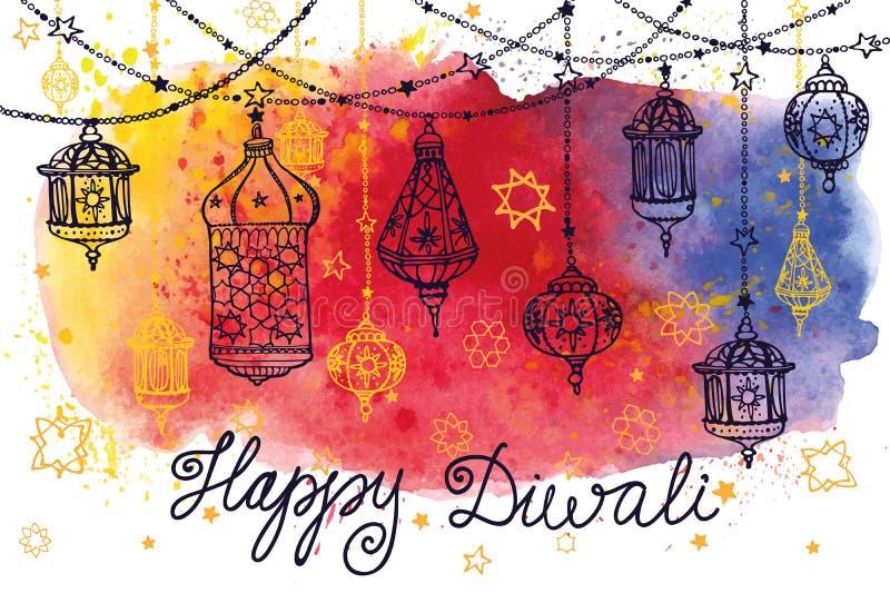 Ευτυχείς κρεμώντας λαμπτήρες Diwali και παφλασμός Watercolor ελεύθερη απεικόνιση δικαιώματος
