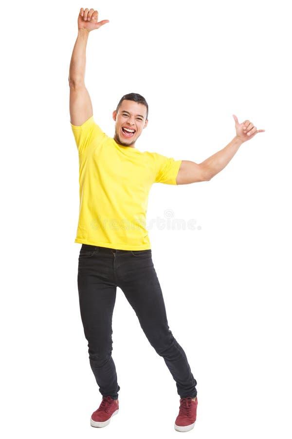 Ευτυχείς λατινικοί ατόμων νέοι πορτρέτου σωμάτων επιτυχίας επιτυχείς χαμογελώντας πλήρεις που απομονώνονται στο λευκό στοκ εικόνα με δικαίωμα ελεύθερης χρήσης