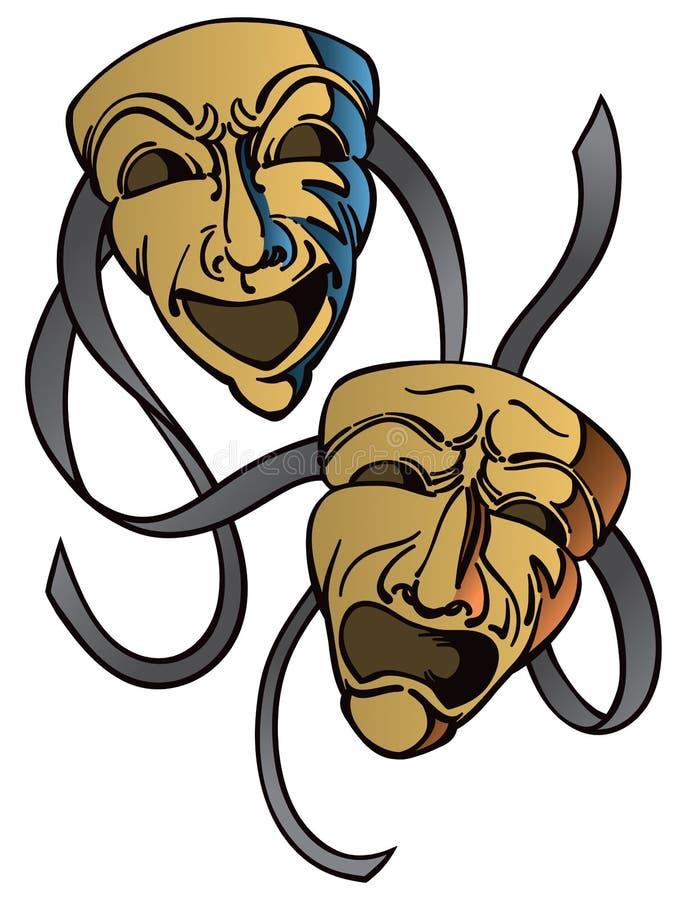 Ευτυχείς λυπημένες μάσκες δράματος ελεύθερη απεικόνιση δικαιώματος
