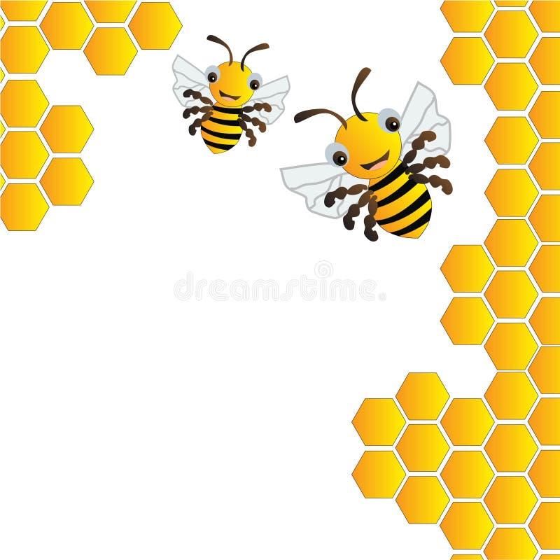 Ευτυχείς μέλισσες και κυψέλη διανυσματική απεικόνιση