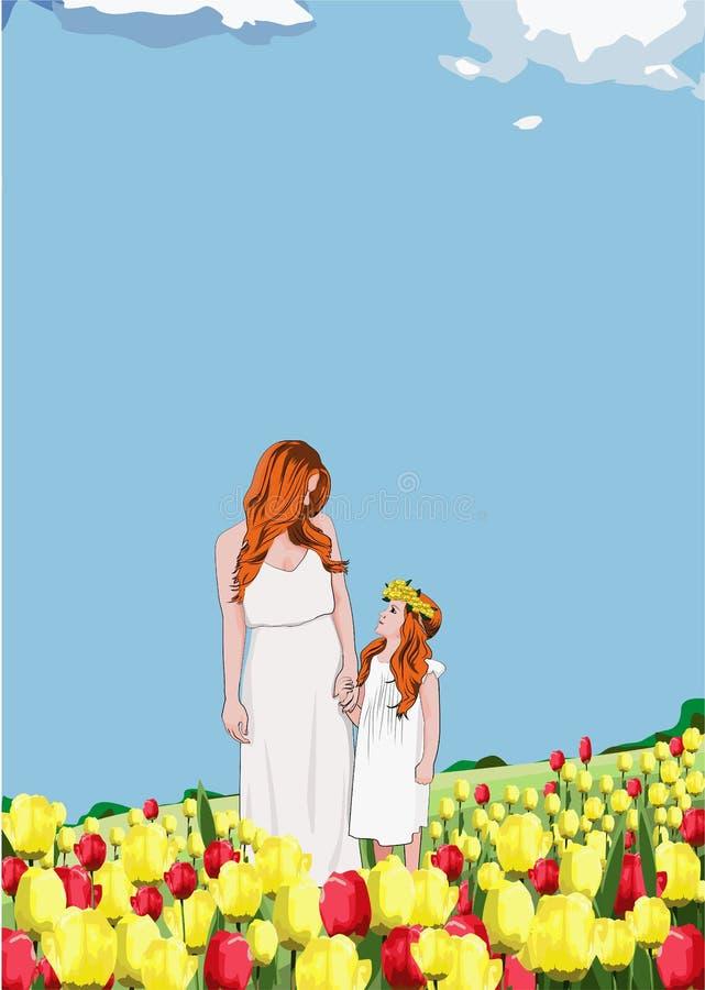 Ευτυχείς μητέρα και κόρη σε ένα απόγευμα άνοιξη μεταξύ ενός τομέα των τουλιπών ελεύθερη απεικόνιση δικαιώματος