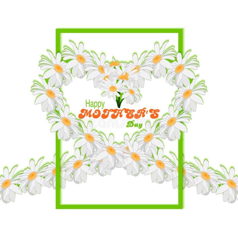 ευτυχείς μητέρες ημέρας ανασκόπησης Ταινία από τις μαργαρίτες με μορφή καρδιάς και πράσινου πλαισίου ελεύθερη απεικόνιση δικαιώματος