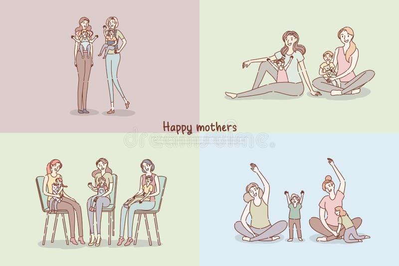 Ευτυχείς μητέρες, νέο mom με νεογέννητο, γονείς με τα παιδιά που ασκούν, πρότυπο εμβλημάτων φύλαξης μωρού ελεύθερη απεικόνιση δικαιώματος