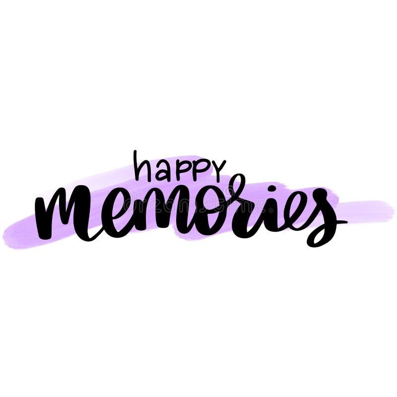 Ευτυχείς μνήμες - διανυσματική συρμένη χέρι φράση εγγραφής r διανυσματική απεικόνιση