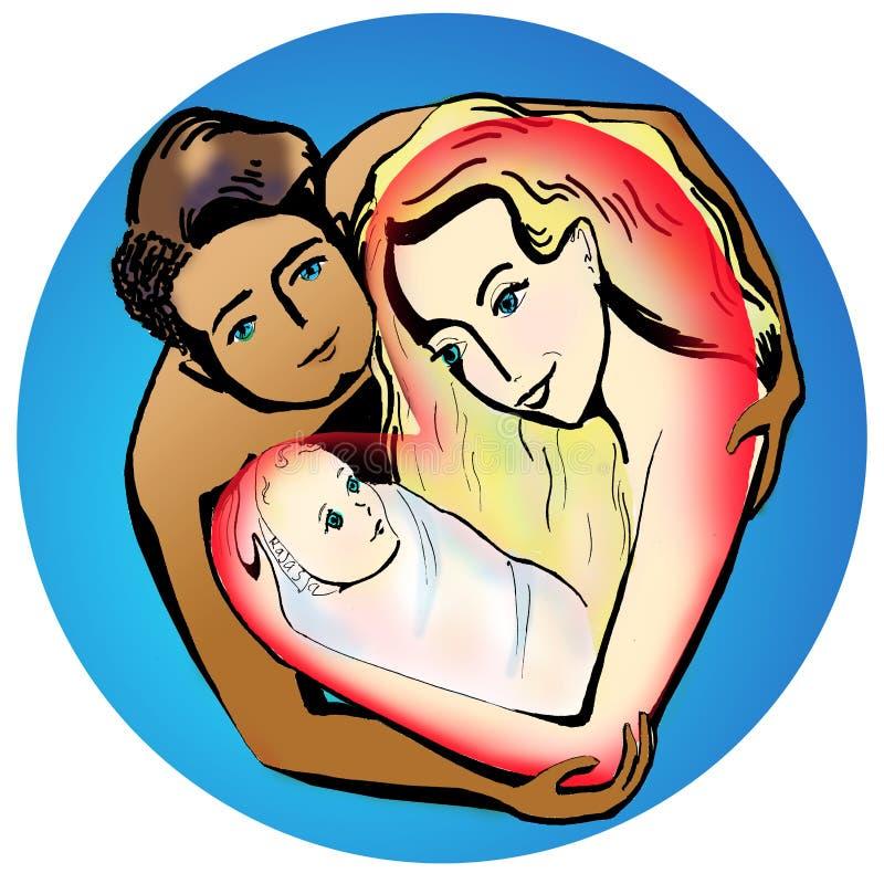 Ευτυχείς νέοι γονείς που αγκαλιάζουν μια μικρή απεικόνιση μωρών ελεύθερη απεικόνιση δικαιώματος