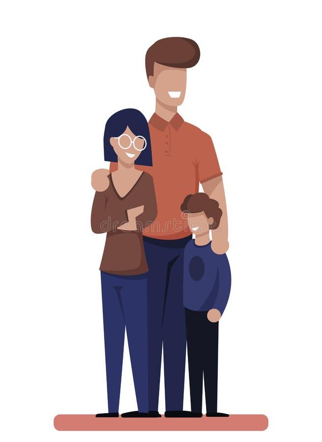 Ευτυχείς νέοι χαρακτήρες κινουμένων σχεδίων οικογένειας και παιδιών διανυσματική απεικόνιση