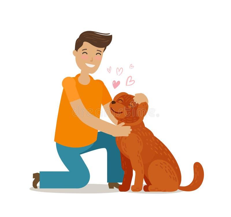 ευτυχείς νεολαίες ατόμ& Pet, pooch, doggie έννοια η αλλοδαπή γάτα κινούμενων σχεδίων δραπετεύει το διάνυσμα στεγών απεικόνισης απεικόνιση αποθεμάτων
