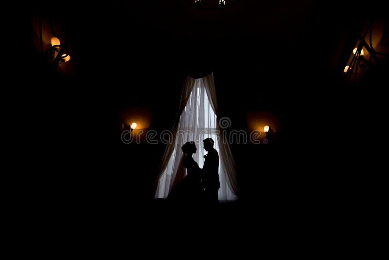 Ευτυχείς νύφη και νεόνυμφος πολυτέλειας που στέκονται στο φως παραθύρων στο πλούσιο δωμάτιο στοκ εικόνες με δικαίωμα ελεύθερης χρήσης