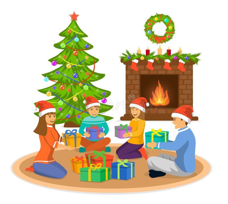 Ευτυχείς οικογένεια, άνδρας, γυναίκα και παιδιά που γιορτάζουν τη Χαρούμενα Χριστούγεννα, που κάθεται στο καθιστικό στο πάτωμα στ διανυσματική απεικόνιση
