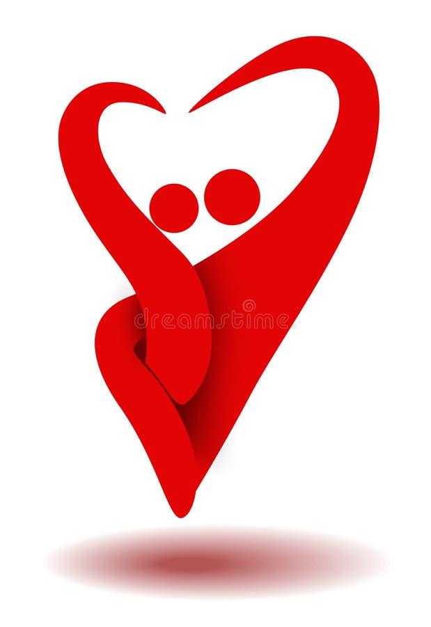 Ευτυχείς οικογενειακοί πατέρας και γιος που κατασκευάζουν την καρδιά να υπογράψει για το λογότυπο οικογενειακής ασφάλειας Υγειονο απεικόνιση αποθεμάτων
