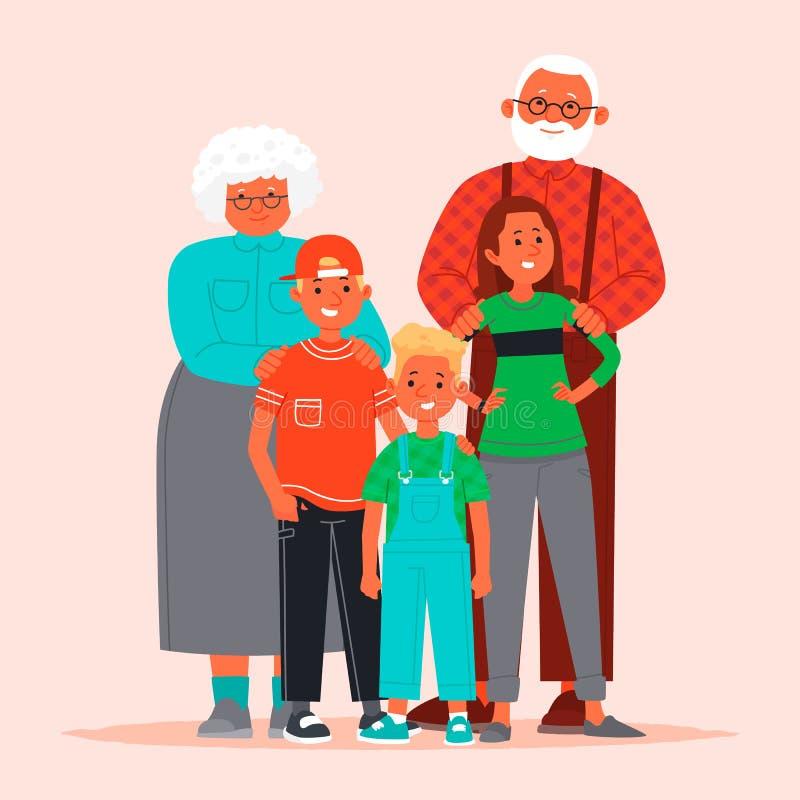 Ευτυχείς παππούδες και γιαγιάδες και εγγόνια Γιαγιά και παππούς με τα παιδιά r απεικόνιση αποθεμάτων