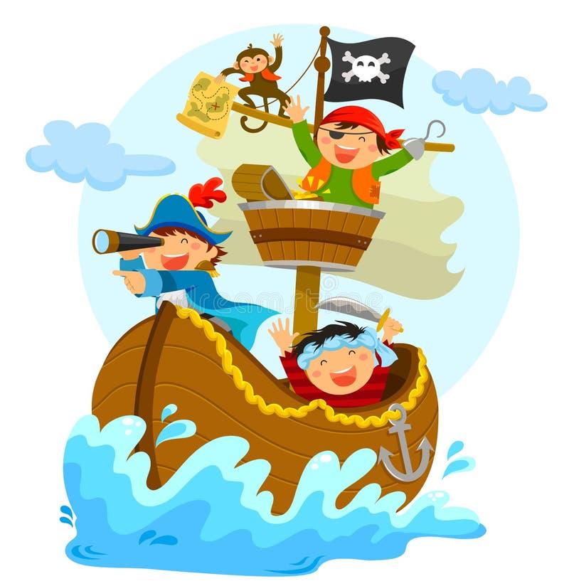 Ευτυχείς πειρατές ελεύθερη απεικόνιση δικαιώματος