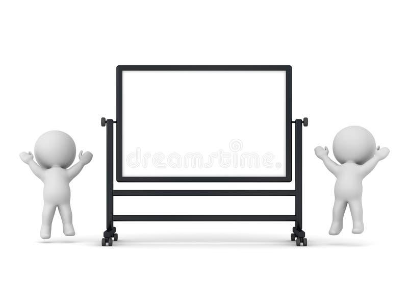 Ευτυχείς τρισδιάστατοι χαρακτήρες με το μεγάλο προγραμματισμό Whiteboard διανυσματική απεικόνιση