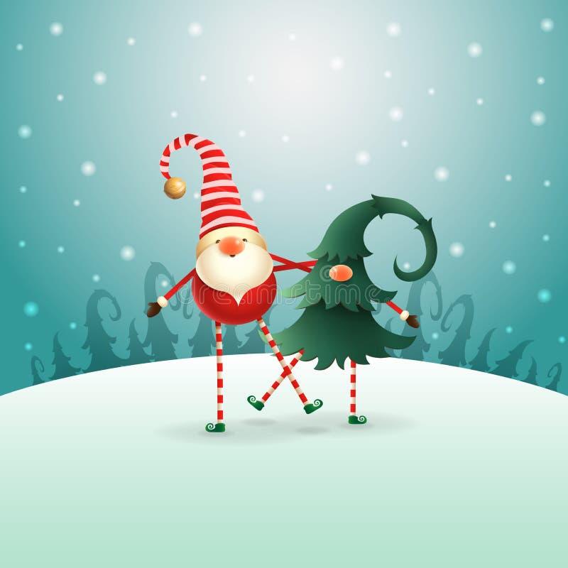 Ευτυχείς φίλοι στοιχειών Χριστουγέννων Σκανδιναβικοί που παίζουν και που χορεύουν - πράσινο μπλε τοπίο χειμερινής νύχτας διανυσματική απεικόνιση
