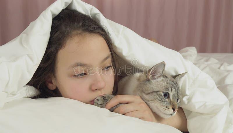 Ευτυχείς φιλιά και συζητήσεις κοριτσιών εφήβων με την ταϊλανδική γάτα στο κρεβάτι στοκ εικόνες