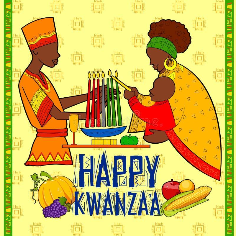 Ευτυχείς χαιρετισμοί Kwanzaa για τον εορτασμό της συγκομιδής φεστιβάλ διακοπών αφροαμερικάνων διανυσματική απεικόνιση