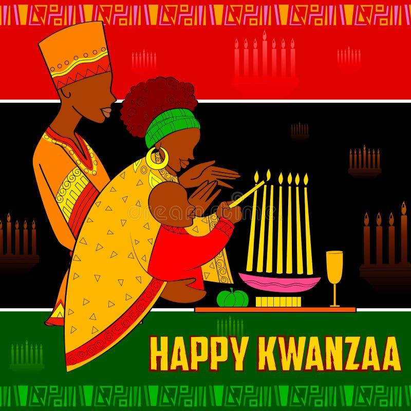 Ευτυχείς χαιρετισμοί Kwanzaa για τον εορτασμό της συγκομιδής φεστιβάλ διακοπών αφροαμερικάνων απεικόνιση αποθεμάτων