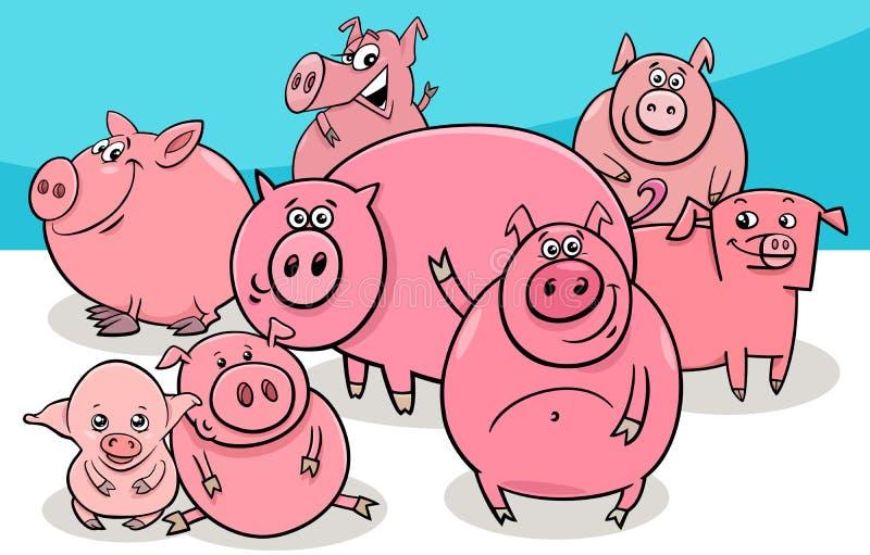 Ευτυχείς χαρακτήρες κινουμένων σχεδίων ζώων αγροκτημάτων χοίρων διανυσματική απεικόνιση