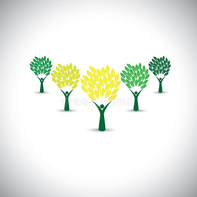 Ευτυχείς, χαρούμενοι άνθρωποι ως δέντρα της ζωής - διάνυσμα έννοιας eco απεικόνιση αποθεμάτων