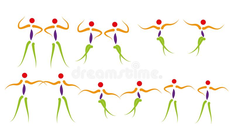Ευτυχισμένη ζωή λογότυπων ανθρώπων χορού που απολαμβάνει το σύμβολο άσκησης εικονιδίων βημάτων χορού στιγμής ελεύθερη απεικόνιση δικαιώματος