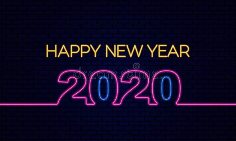 Ευτυχισμένος ο εορτασμός αφίσας για το νέο έτος 2020 με λαμπερό εφέ φωτός νέον στην απεικόνιση του σκούρου μπλε δομικού φόντου διανυσματική απεικόνιση