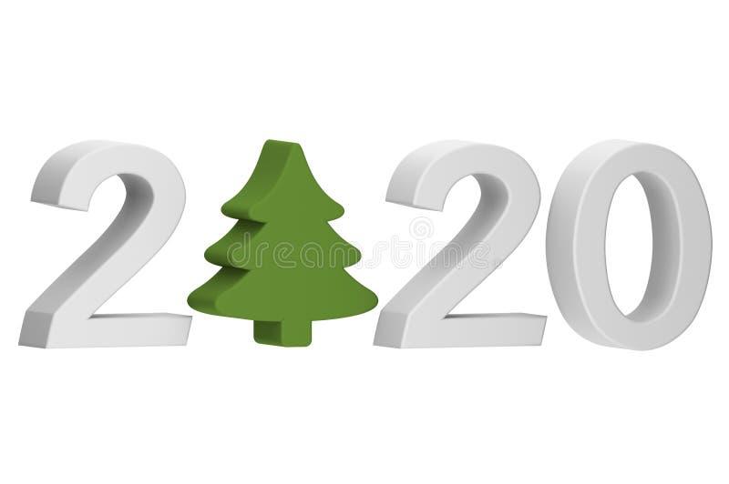 Ευτυχισμένος ο καινούργιος χρόνος ή καλά Χριστούγεννα 2020, χριστουγεννιάτικο δέντρο ή κωνοφόρα με τον αριθμό απομονωμένο σε λευκ διανυσματική απεικόνιση