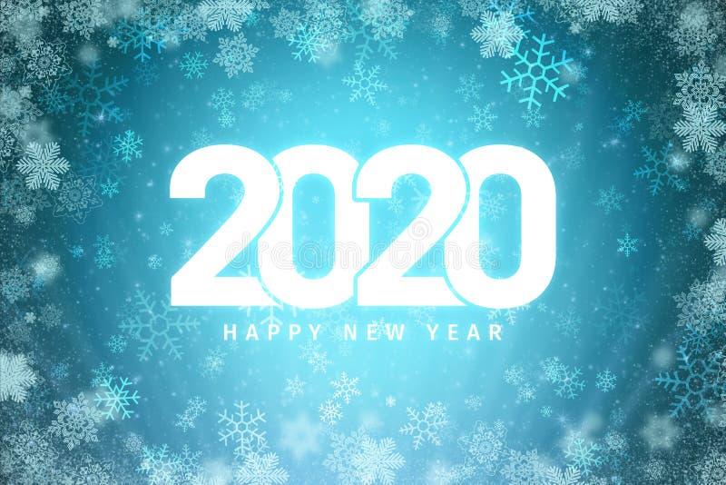 2020 Ευτυχισμένος ο καινούργιος χρόνος με μπλε φόντο στοκ φωτογραφία με δικαίωμα ελεύθερης χρήσης