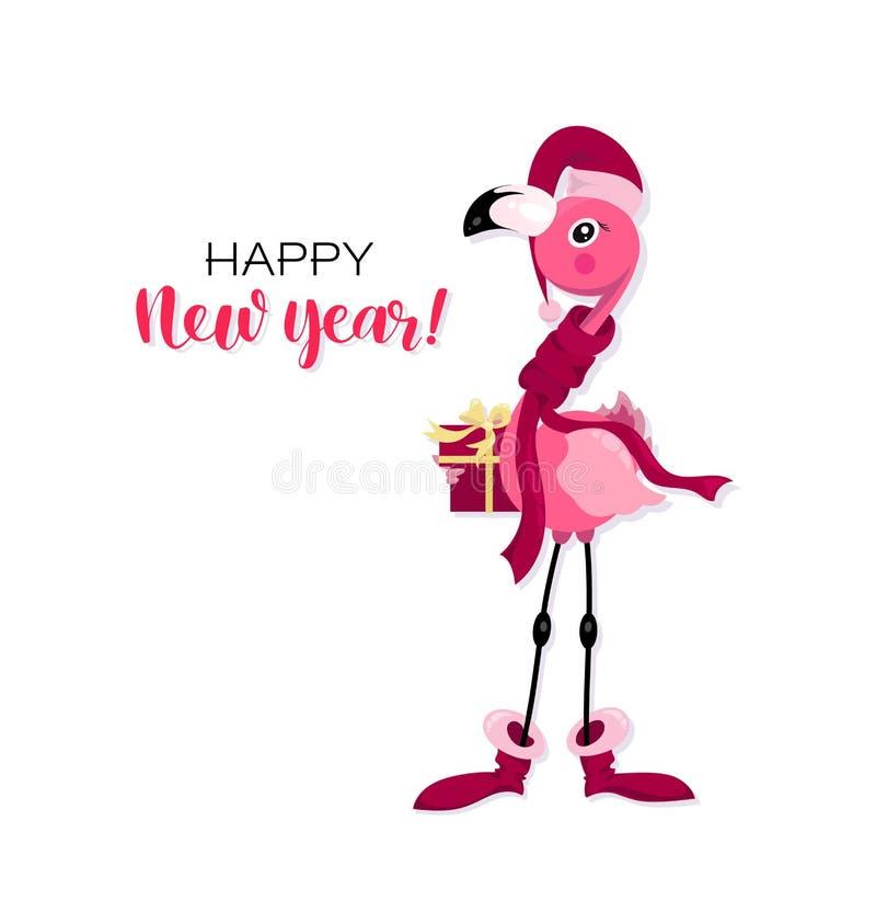 Ευτυχισμένος ο καινούργιος χρόνος! Ροζ φλαμίνγκο στο καπέλο του Άη Βασίλη με δώρο Χριστουγεννιάτικο φλαμίνγκο απεικόνιση αποθεμάτων
