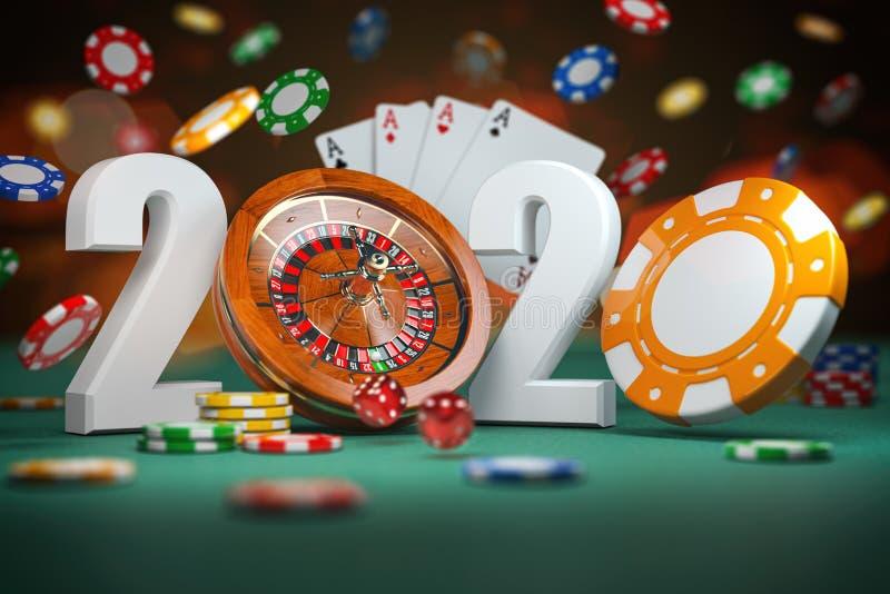 2020 Ευτυχισμένος ο καινούργιος χρόνος στο καζίνο Αριθμοί 2020 από τσιπς ρουλέτας και καζίνο με ζάρια και κάρτα στο πράσινο τραπέ ελεύθερη απεικόνιση δικαιώματος