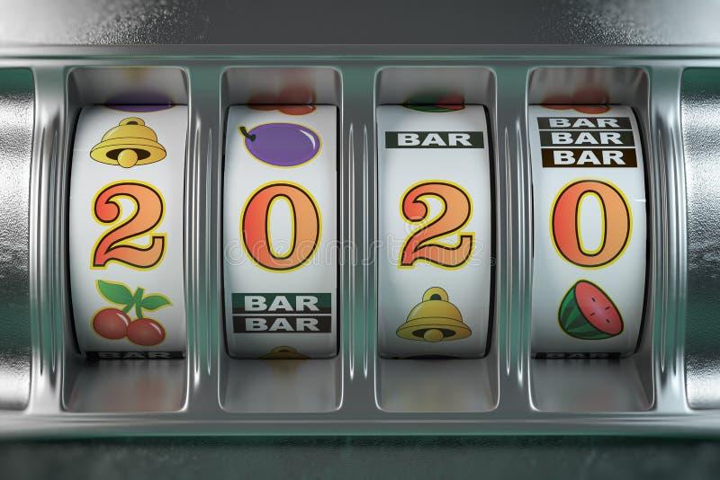 2020 Ευτυχισμένος ο καινούργιος χρόνος στο καζίνο Υποδοχή με αριθμό τζάκποτ 2020 ελεύθερη απεικόνιση δικαιώματος