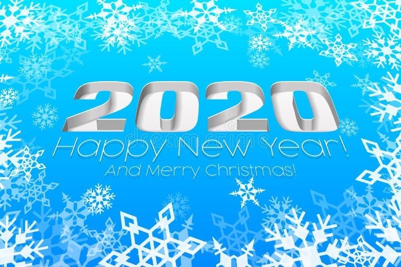 2020 Ευτυχισμένο Πρωτοχρονιάτικο Μπλε Φόντο, Κάρτα, Πανό, Φυλλάδιο Ή Χριστουγεννιάτικες Προσκλήσεις Ψηφία Και Λευκή Χιονονιφάδα διανυσματική απεικόνιση