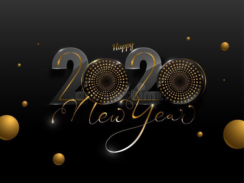 Ευτυχισμένο το νέο έτος 2020 Κείμενο με γούφερ`s και χρυσούς κύκλους διακοσμημένους διανυσματική απεικόνιση