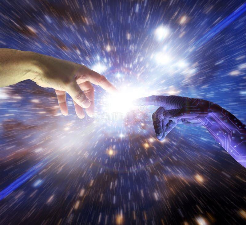 Ευφυές χέρι τεχνητής νοημοσύνης AI του Θεού Cyborg στοκ εικόνα με δικαίωμα ελεύθερης χρήσης