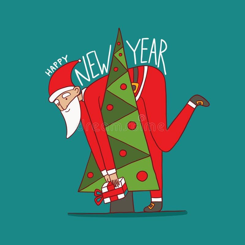 Ευχάριστα Άγιος Βασίλης και το χριστουγεννιάτικο δέντρο στοκ φωτογραφίες