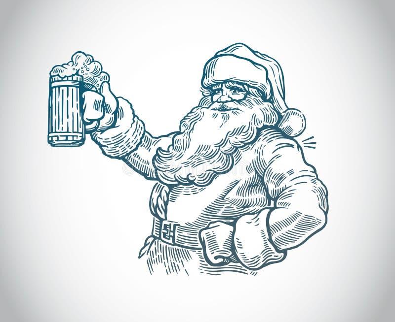 Ευχάριστα Άγιος Βασίλης με την μπύρα διανυσματική απεικόνιση