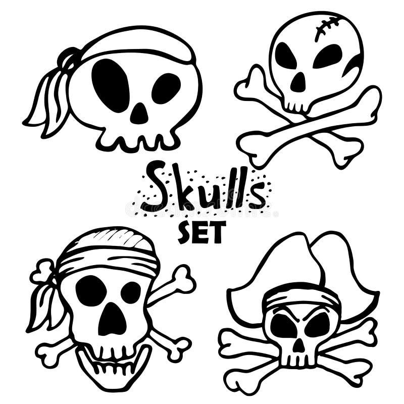 Ευχάριστα καθορισμένα, διάνυσμα κρανίων πειρατών που απομονώνεται κρανία του Ρότζερ Σύμβολα πειρατείας απεικόνιση αποθεμάτων