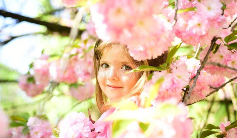 Ευχάριστη ημέρα άνοιξη παιδί μικρό ομορφιά φυσική Ημέρα παιδιών Μόδα θερινών κοριτσιών παιδική ηλικία ευτυχής πρόσωπο και skincar στοκ φωτογραφία