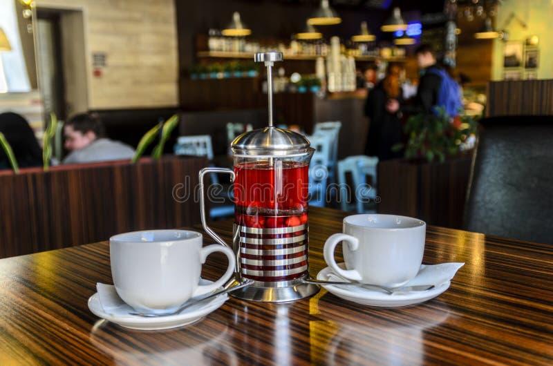 Ευχάριστη συνεδρίαση των φίλων στον καφέ για ένα φλυτζάνι του εύγευστου τσαγιού φρούτων και μούρων στοκ φωτογραφία