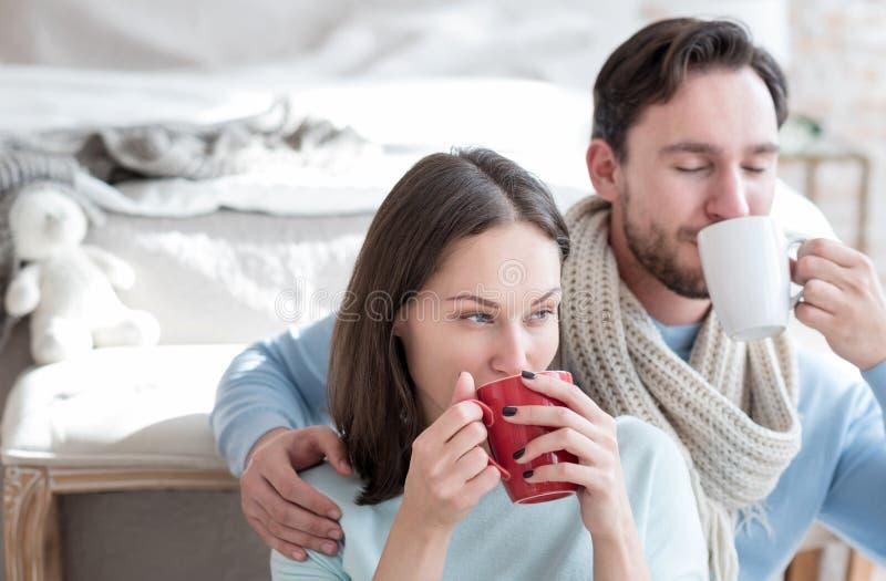 Ευχάριστο στοχαστικό ρουφώντας γουλιά γουλιά τσάι γυναικών στοκ φωτογραφίες με δικαίωμα ελεύθερης χρήσης