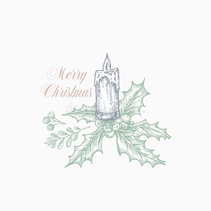 Ευχετήρια κάρτα ή ετικέτα Χαρούμενα Χριστούγεννας Συρμένες χέρι απεικονίσεις διακοπών Κλάδος της Holly με τα μούρα και το καίγοντ ελεύθερη απεικόνιση δικαιώματος