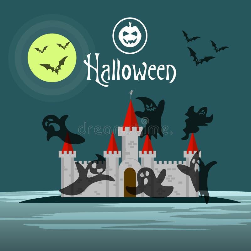 Ευχετήρια κάρτα ή πρόσκληση αποκριές Οι κολοκύθες, τα φαντάσματα και τα ρόπαλα σκιαγραφιών πετούν πέρα από το κάστρο τη νύχτα απεικόνιση αποθεμάτων