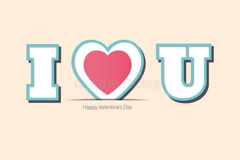 Ευχετήρια κάρτα αγάπης και ημέρας Valentine's Συμβολικός σ' αγαπώ διανυσματική απεικόνιση