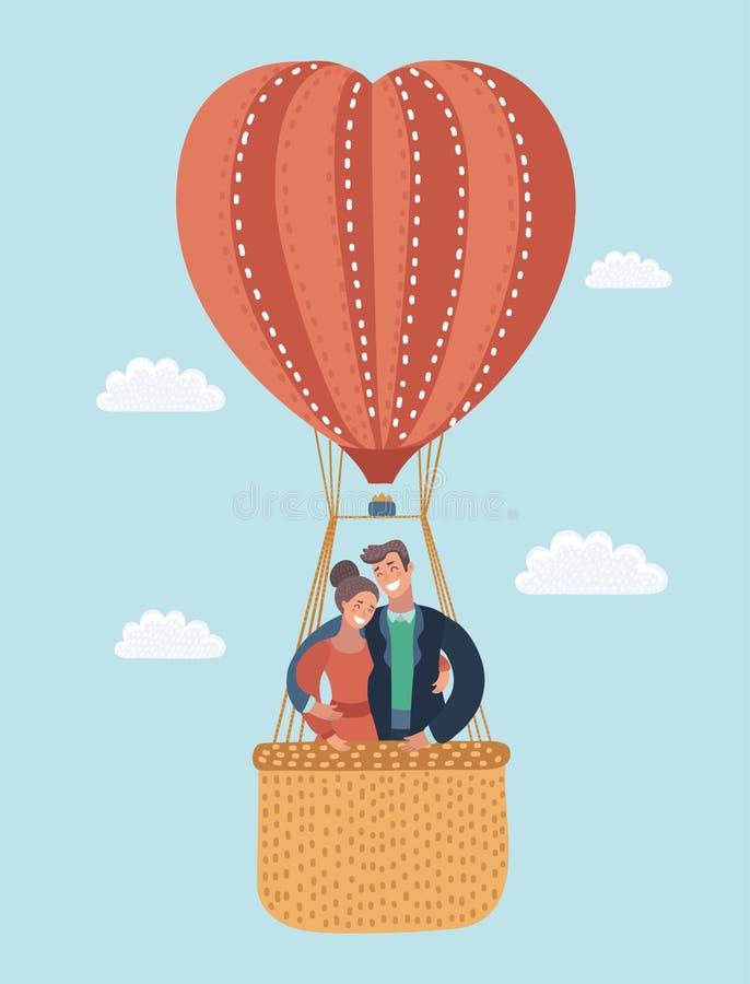 Ευχετήρια κάρτα αγάπης με το πετώντας ζεύγος στο μπαλόνι ζεστού αέρα βαλεντίνος χαιρετισμού s & απεικόνιση αποθεμάτων