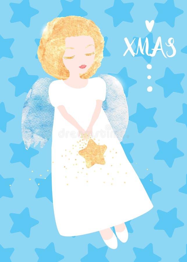Ευχετήρια κάρτα αγγέλου Χριστουγέννων Χαριτωμένος λίγος άγγελος με ένα χρυσό αστέρι Συστάσεις Watercolor, αρχική διανυσματική απε απεικόνιση αποθεμάτων