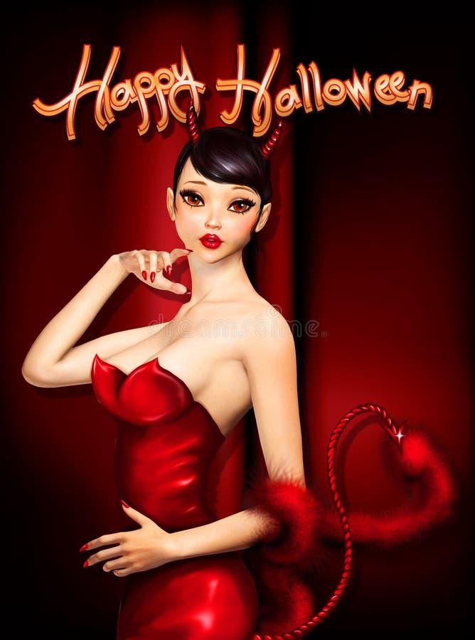 Ευχετήρια κάρτα αποκριών με το χαριτωμένο διάβολο απεικόνιση αποθεμάτων